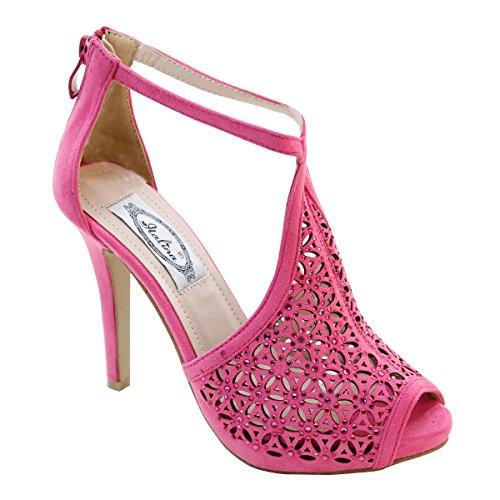 Nuovo Brieten Womens Strass Caviglia Tacco Alto Sandali Tacco Alto Piattaforma Cerniera Posteriore Caviglia