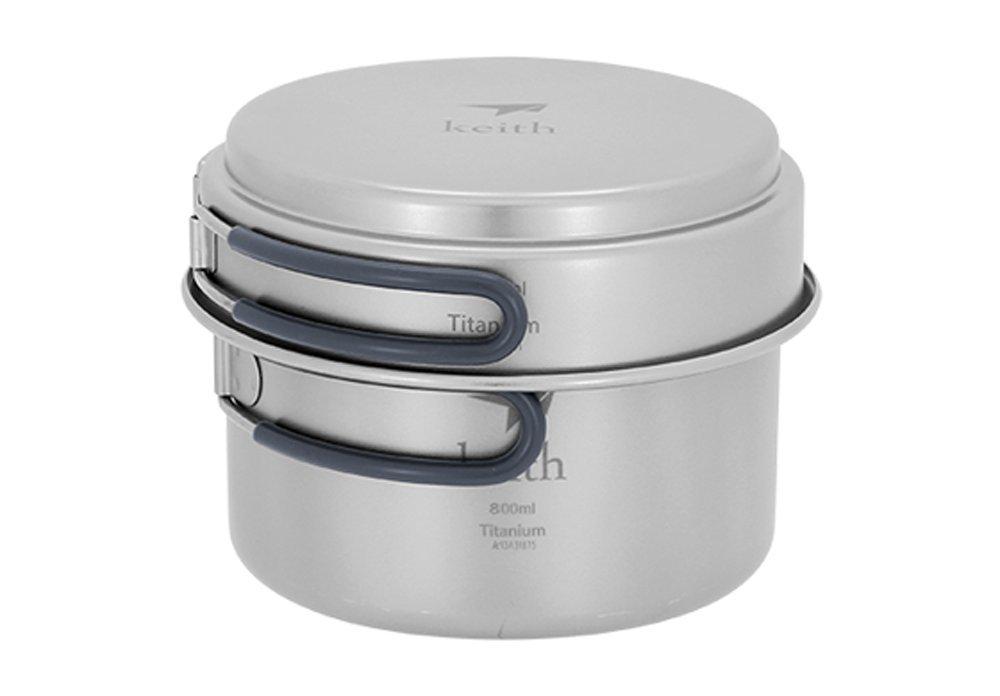 Keith 1-2 Person Titanium Pot Camping Cookset Outdoor Cookware Picnic Pan Ti6012