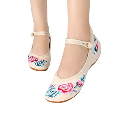 e5490e3d5ab CINAK Floral Embroidered Shoes for Women- Comfortable Loafer Black Casual  Round Toe Ballet Flats Shoes