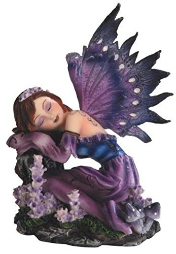 StealStreet Ss-G-91590 Small Purple Winged Fairy Sleeping On Tree Stump - Decorated Figurine Tree Christmas