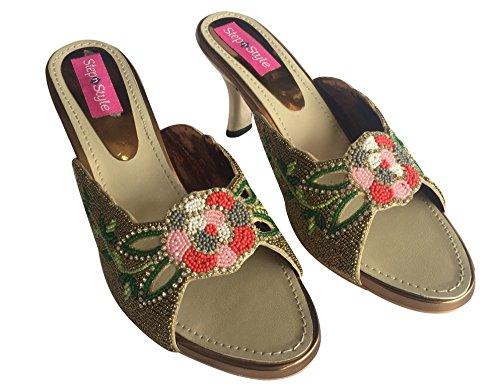 Étape N Style Demoiselles Dhonneur Femmes Haut Talon Chaussures De Mariage Plat Jooti Ethnique Khussa Juti