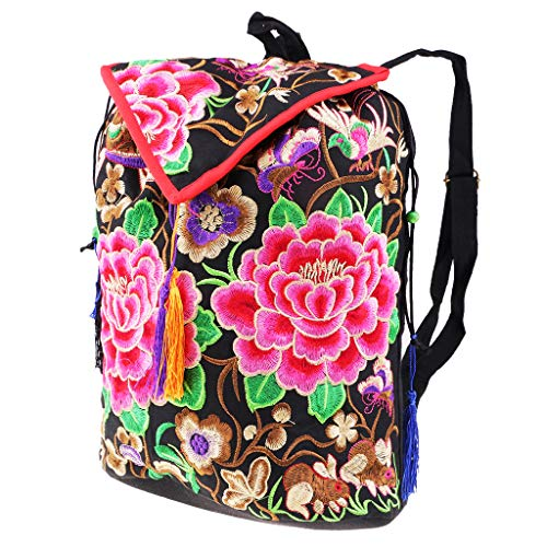 Shoulder Chinese Women Handbag 1 Bags Backpack MagiDeal Embroidery Travel Ethnic 16x27x35cm Tribal 2 AgYxqw6Iw