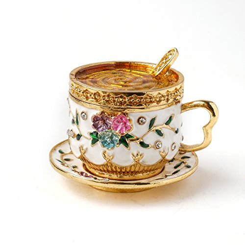 Apropos Vintage Style Hand Painted Two Piece Set Tea Cup withFlowers Trinket Box