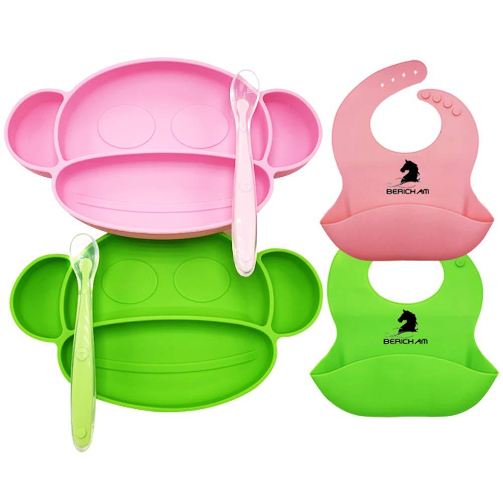 BeRicham 100% Food-Grade BPA Free Silicone Baby Feeding Set Toddler Feeding Utensils Toddler Dishes - 2 Baby Feeding Bowls(Suction) Plus 2 Silicone Baby Bibs(Adjustable) Plus 2 Feeding Spoon(Soft)