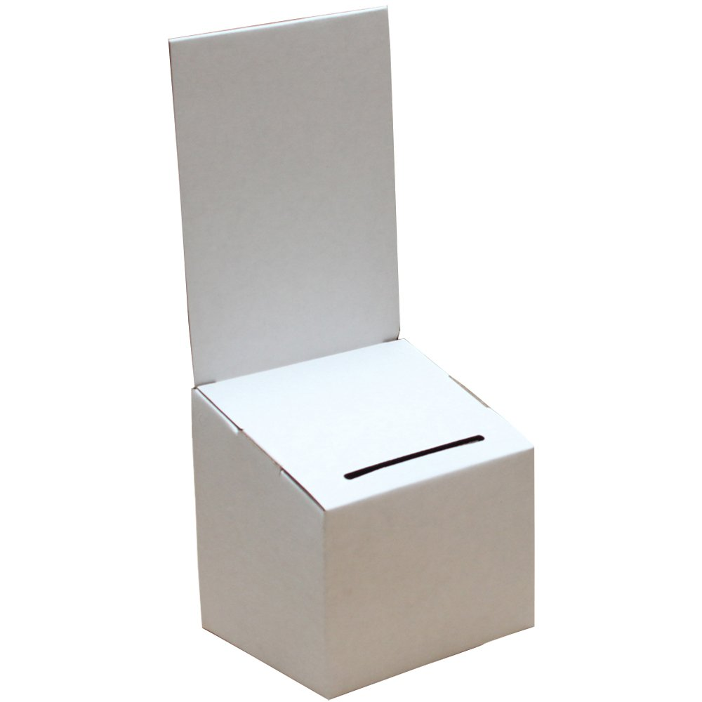 Longest Lasting Ballot & Contest Box (White) | For Every Occasion | Tips, Donations, Surveys and much more! | Great for businesses and schools to use | (10 Pack)