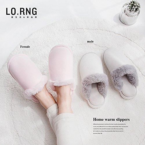 LaxBa Femmes Hommes chauds dhiver Chaussons peluche antiglisse intérieur Cotton-Padded Chaussures Slipper largeur du pied pour augmenter un m40-70 mètres