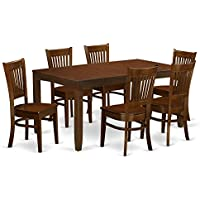 East West Furniture LYVA7-ESP-W 7 Piece Lynfield Table With One 12 Leaf And Six Solid Wood Chairs In Espresso Finish