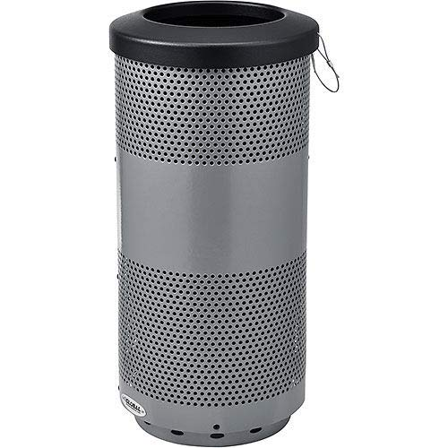 (Global Industrial 20 Gallon Perforated Steel Receptacle with Flat Lid, Gray, Lot of)