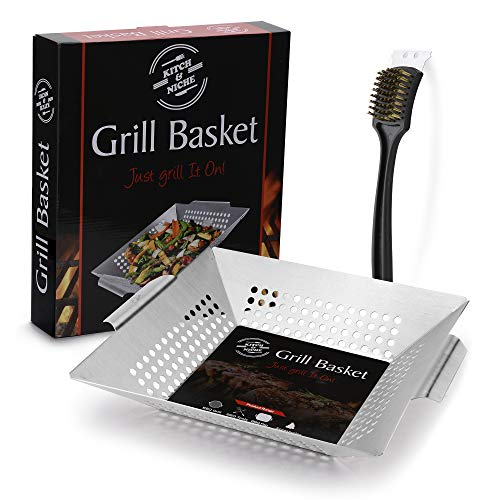 BBQ Grilling Basket with Grill Cleaning Brush, Wok, Pan Fish, Meat, Vegetables,...