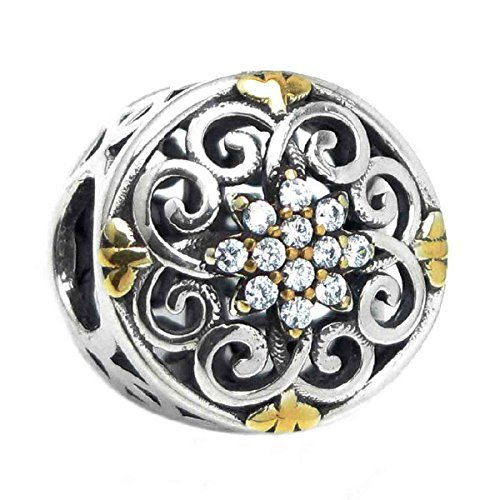 Sterling Silver Filigree Flower Cubic Zirconia with Gold-tone European Style Bead Charm by Queenberry