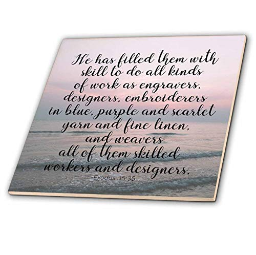 (3dRose Made in The Highlands - Vector- Exodus Scripture - Scripture of Exodus Over Sunset - 8 Inch Glass Tile)