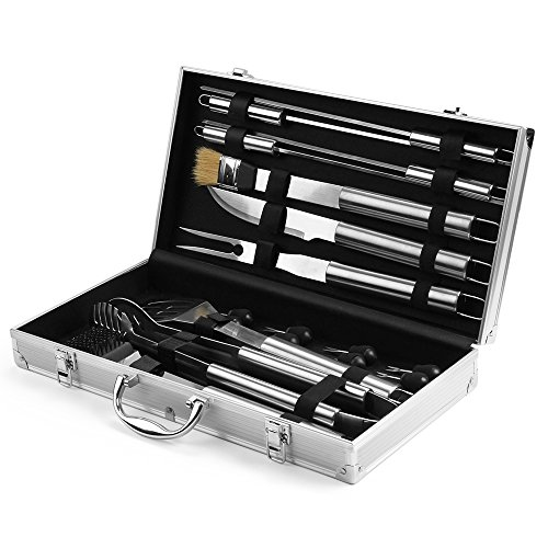 Flexzion BBQ Grilling Accessories Tools Set with Aluminum Storage Case Organizer Box - Skewers Knife Tong Spatula Corn Holder 18 Piece Kit Utensil For Indoor Outdoor Cooking Charcoal Barbecue