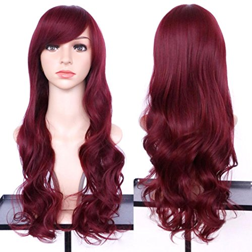 DEESEE(TM) Women's Wavy Curly Long Hair Full Of Wig Cosplay Costume Party Natural Wigs (C) (Brown Long Wig With Two Bows)