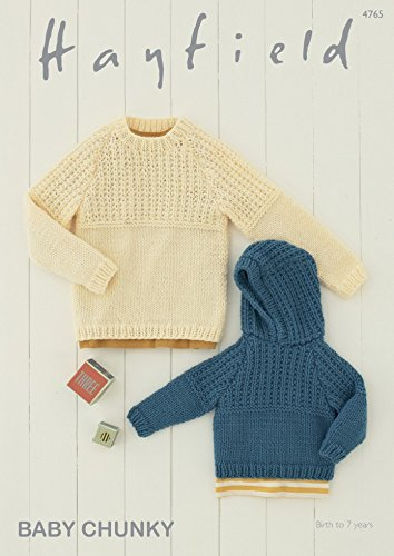 Hayfield Baby Boys Sweater Hoodie Knitting Pattern 4765 Chunky