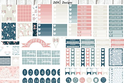 Fall in Love, planner sticker kit. Choose from Happy Planner to Erin Condren size. 6 total pages on matte sticker paper. Kiss cut, just peel and -