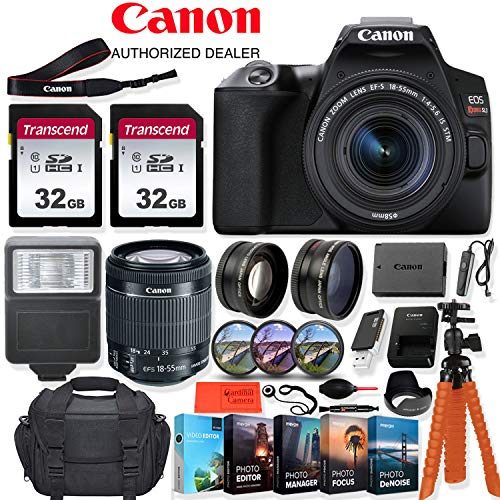 Canon EOS Rebel SL3 DSLR Camera with 18-55mm Lens – 24.1 MegaPixels, Wi-Fi, 4k HD + Accessory Kit – Vlogging/Photo Editing Software Package, 64GB Memory & More