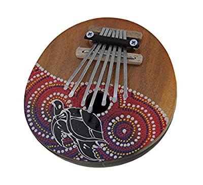 Wood Thumb Pianos Hand Crafted Coconut And Wood 7 Key Sea Turtle Mbira Thumb Piano 5.25 X 2.75 X 5.25 Inches Multicolored