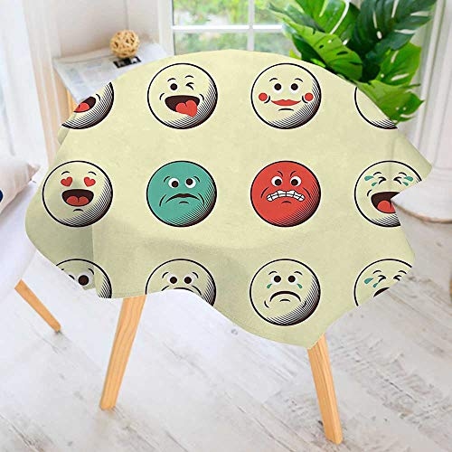 UHOO2018 Circular Solid Polyester Tablecloth-Like Vintage Old Smiley Faces with Angry Sad Nervous Mood Expression Print Multicolor for Wedding Restaurant Buffet Table Decoration 63