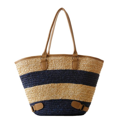 Tonwhar® European Style Large Capacity Stripes Straw Bag Woven ...