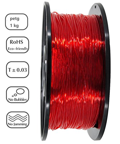 PETG 3D Printer Filament,Dimensional Accuracy +/- 0.05 mm, 1kg / 2.2lbs Spool for 3D Printers-- (1.75mm, Transparent Red) by Evergreen Tree