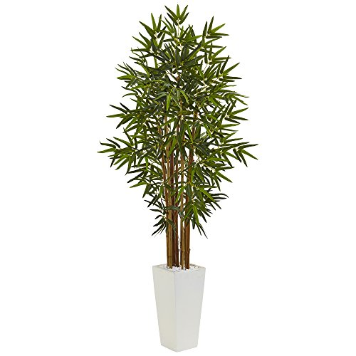Nearly Natural 5' Bamboo Artificial Tree in White Tower Planter, Green by Nearly Natural