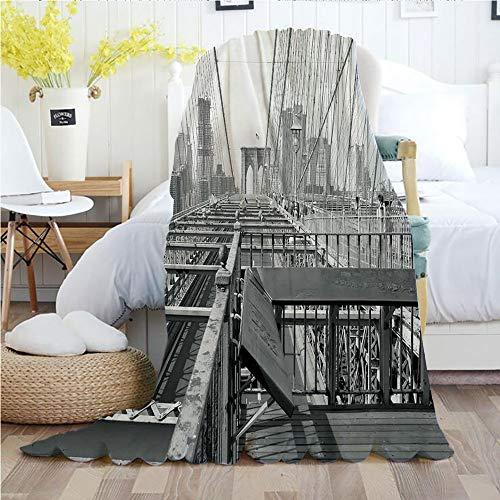 Ylljy00 Modern,Throw Blankets,Flannel Plush Velvety Super Soft Cozy Warm with/Vintage View of Brooklyn Bridge in New York City Mechanic USA American Print/Printed Pattern(50