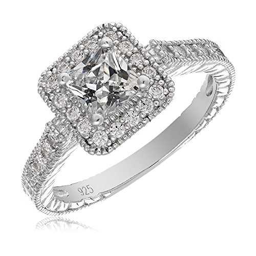Mars wings Sterling Silver Platinum-Plated Elegant Cut CZ Diamond Engagement Wedding Ring Set 2pcs(New) by Mars wings (Image #3)