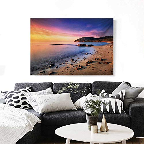 Beach Wall Paintings Famous Mediterranean Sun Rise on The Beach with Pebbles Tourism Serene View Print Print On Canvas for Wall Decor 36