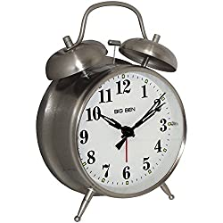 1 - Big Ben Twin Bell Alarm Clock, ¥ Metal nickel finish case ¥ Loud bell alarm ¥ Light on demand ¥ Glass lens, 70010