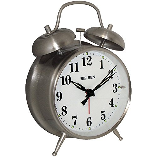 - 1 - Big Ben Twin Bell Alarm Clock, ¥ Metal nickel finish case ¥ Loud bell alarm ¥ Light on demand ¥ Glass lens, 70010