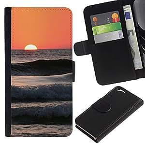 EJOY---La carpeta del tirón la caja de cuero de alta calidad de la PU Caso protector / Apple Iphone 6 / --Olas Peach Beach Surf sol del verano