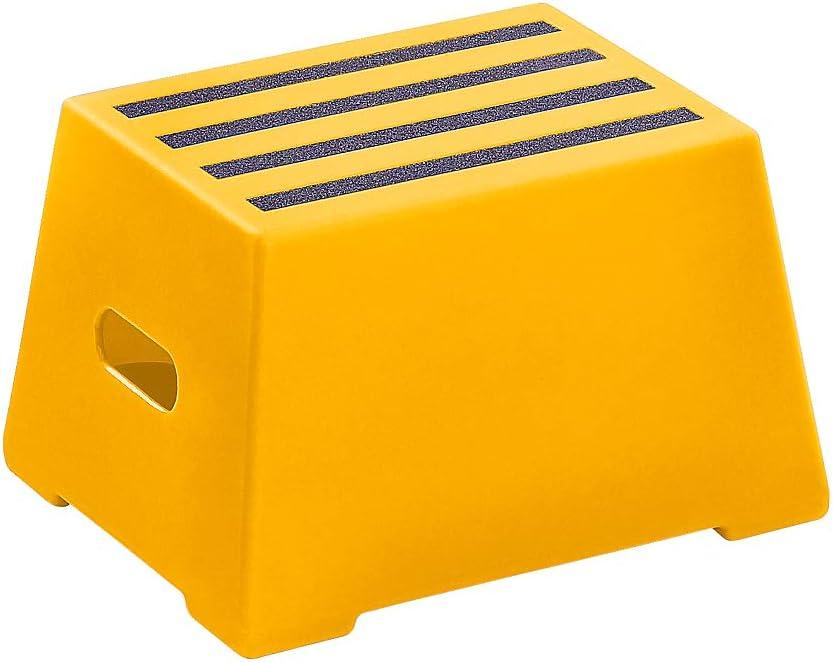 abwaschbar feuerrot Kunststoff-Tritt Steighilfe Tritt Kunststoff-Tritt mit rutschfesten Stufen gepr/üft nach EN 14183:2003E 2 Stufen
