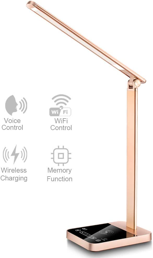【New Version】NAPATEK Smart LED Desk Lamp with Wireless Charger APP Voice Control, Eye Caring Desk Light Touch Control Multi-Level Brightness Timer Memory Function USB Port Compatible Echo Google Home 51R2B-3uq7nL