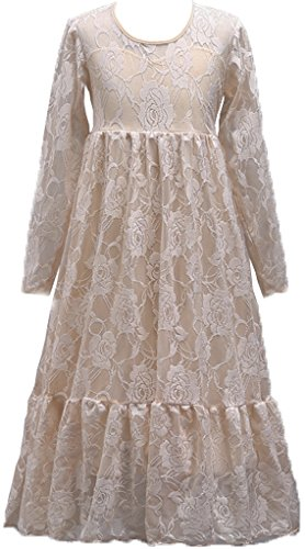 Shiny Toddler Little Girls Vintage Flower Girl Birthday Party Lace Long Dress 7-8,Champagne