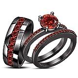 ArtLine Jewels 14k Black Gold Red Garnet Bridal Engagement Trio Wedding Ring Set Matching Band