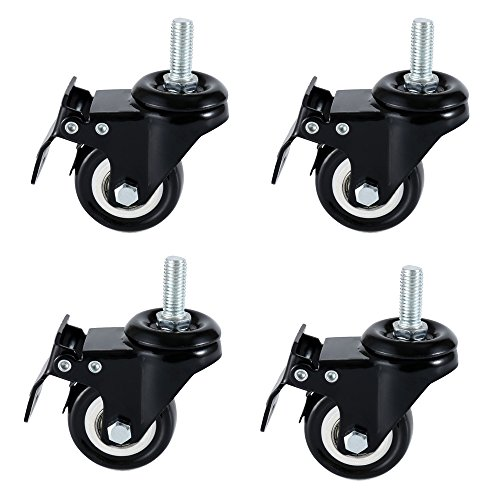 DICASAL 2'' Stem Casters, Heavy Duty Swivel Stem Casters PU Foam Quite Mute No Noise Castors Markless Wheels Double Bearings and Locks Loading 300 Lbs Pack of 4 with Brake Black by DICASAL (Image #5)