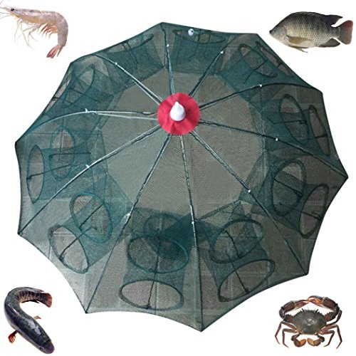 - Quaanti Hot! Holes Automatic Fishing Net Shrimp Cage Nylon Foldable Crab Fish Trap Cast Solid Steel Cast Net Folding Fishing Tools (A)