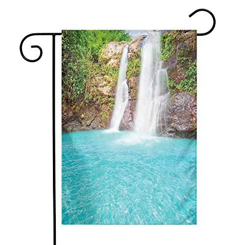 Mannwarehouse Waterfall Garden Flag Waterfall and Clear Natural Pool Plants Sunbeams in a Summer Day View Premium Material W12 x L18 Aqua Green Pale ()