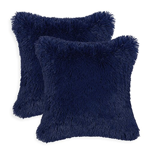 Pack of 2 CaliTime Super Soft Throw Pillow Covers Cases for Couch Sofa Bed, Solid Plush Faux Fur 18 X 18 Inches, Navy Blue