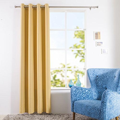yellow insulated grommet curtains - 9