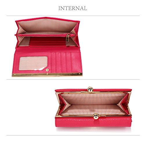De Bolsos Para Lujo De Mirada Monedero La Damas Diseñador Con La Grandes Ranuras De 1 Pink Metal De Decoración Diseño Tarjetas De Y Mujer 1I1xRSwqz