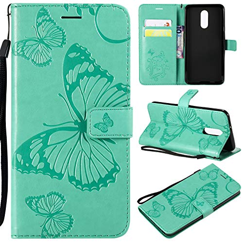 LG Stylo 4 Flip Wallet Case,ZVKVAMT Butterfly Embossed Design PU Leather Flip Cover Built-in Card/Cash Slots Stand Magnetic Wristlet Strap Fit for LG Stylo 4 (B-Green)