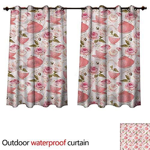 - cobeDecor Floral Outdoor Ultraviolet Protective Curtains Vintage Tea Cups Roses W63 x L72(160cm x 183cm)
