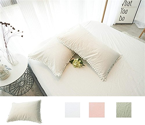 Meaning4 Pom Poms Pillow Covers Ivory Queen Size Cases Shams Off White Pillowcases Cotton Pack of 2