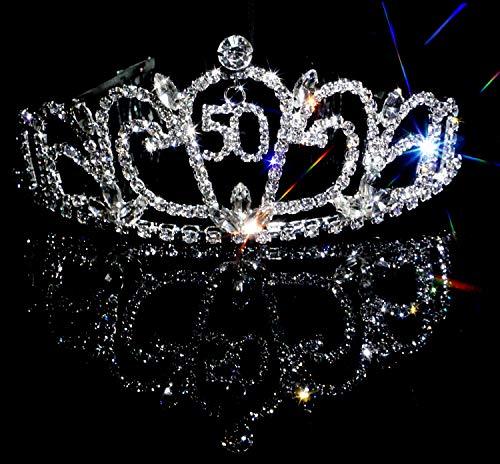 Bienvenu Crystal Tiara Birthday Crown Princess Crown Hair Accessories Silver Diamante Happy 50th Birthday