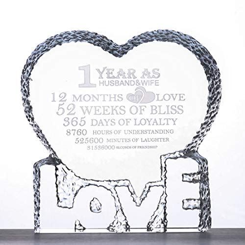 H&D Crystal Glass Award Plaque Trophy Etched Engraving Crystal - Loved You Yesterday Love You Still Always Have Always Will: Heart Glass Paperweight