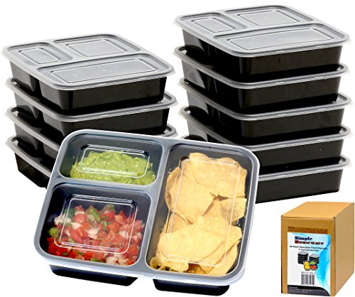 10 Pack - SimpleHouseware 3 Compartment Meal Prep Food Storage Container Bento Lunch Boxes, Reusable, Stackable and Dishwasher, Microwave, Freezer Safe (36 ounces) (Freezer Safe Storage Containers compare prices)