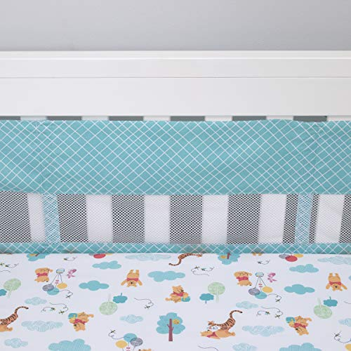 Disney Winnie The Pooh First Best Friend Secure-Me Crib Liner, Aqua/White