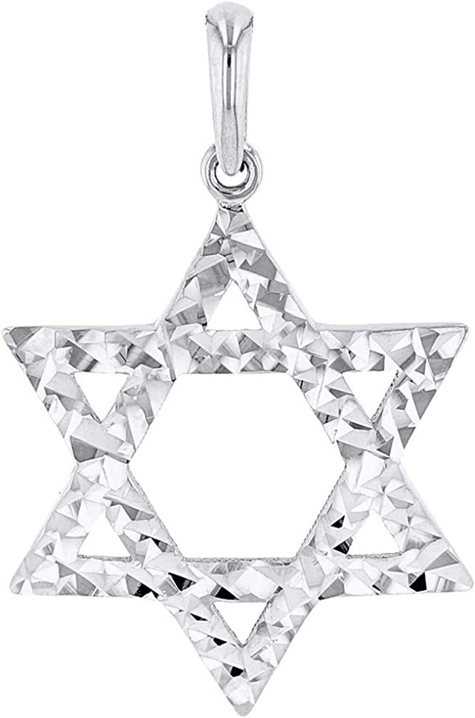 Solid 14k White Gold Textured Hebrew Star of David Pendant Necklace 18 JewelryAmerica Mikly2850Wpn-18