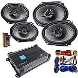 (4) Kenwood KFC-D681C 6x8 360 Watt 2-Way Speakers + Gravity WZ1000.4 1000W 4 Channel 2/4 Ohm Stable w/Remote Sub Control Amplifier + Amp Kit